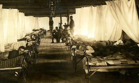 African American orderlies tending to white soldiers recovering from influenza in the isolation barracks at Camp Bowie, Texas. (From Record Group 112 - Records of the Army Surgeon General's Office, Box 14, Folder 710 Influenza-Camp Bowie, Tex., National Archives and Records Administration, College Park, Maryland)