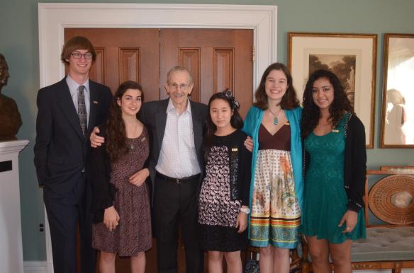 National Student Poets Miles Hewitt (far left), Lylla Younes, Claire Lee, Luisa Banchoff and Natalie Richardson (far right) pose with former U.S Poet Laureate, Philip Levine (center).