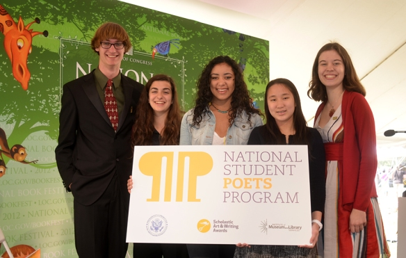 The inaugural class of National Student Poets from left to right: Miles Hewitt, age 17, of Vancouver, WA; Lylla Younes, age 17, of Alexandria, LA; Natalie Richardson, age 17, of Oak Park, IL; Claire Lee, age 16, of New York, NY; and Luisa Banchoff, age 17, of Arlington, VA. Each of these poets currently serve as literary ambassadors for National Student Poet Class of 2012. Courtesy of NSPP Facebook page.