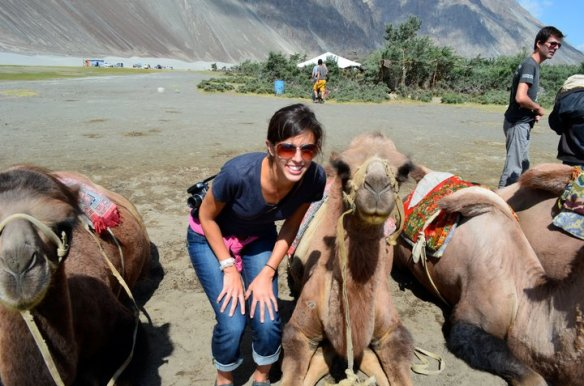 Katherine posing with a very photogenic camel in India, 2011. After her NEH internship ends, Katherine will head back to India for a six-week trip.